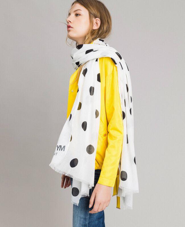 Cotton scarf with polka dot print Black / White Polka Dot Print Woman 191MA4306-0T