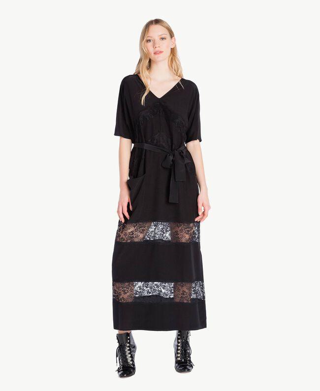 Langes Kleid aus Seide Schwarz Frau PS82Z2-01