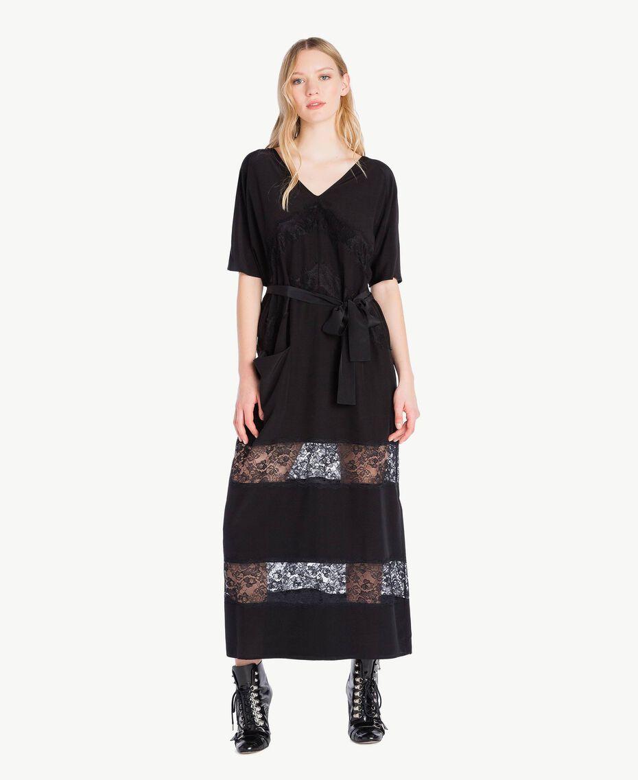 Robe longue soie Noir Femme PS82Z2-01