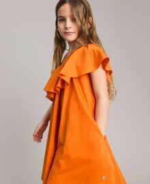 "Robe épaule dénudée en popeline stretch ""Orange Estivale"" Enfant 191GJ2290-02"