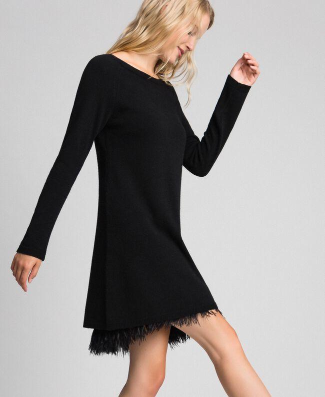 Robe en cachemire mélangé avec fond de robe Noir Femme 192TT3320-03