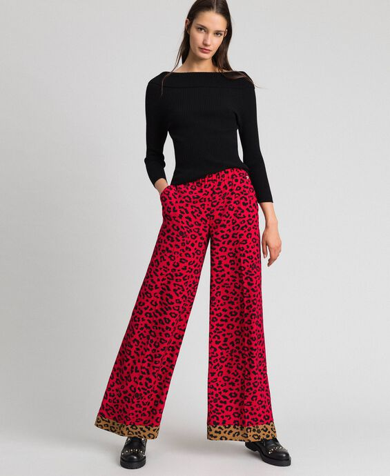 Animal print palazzo trousers