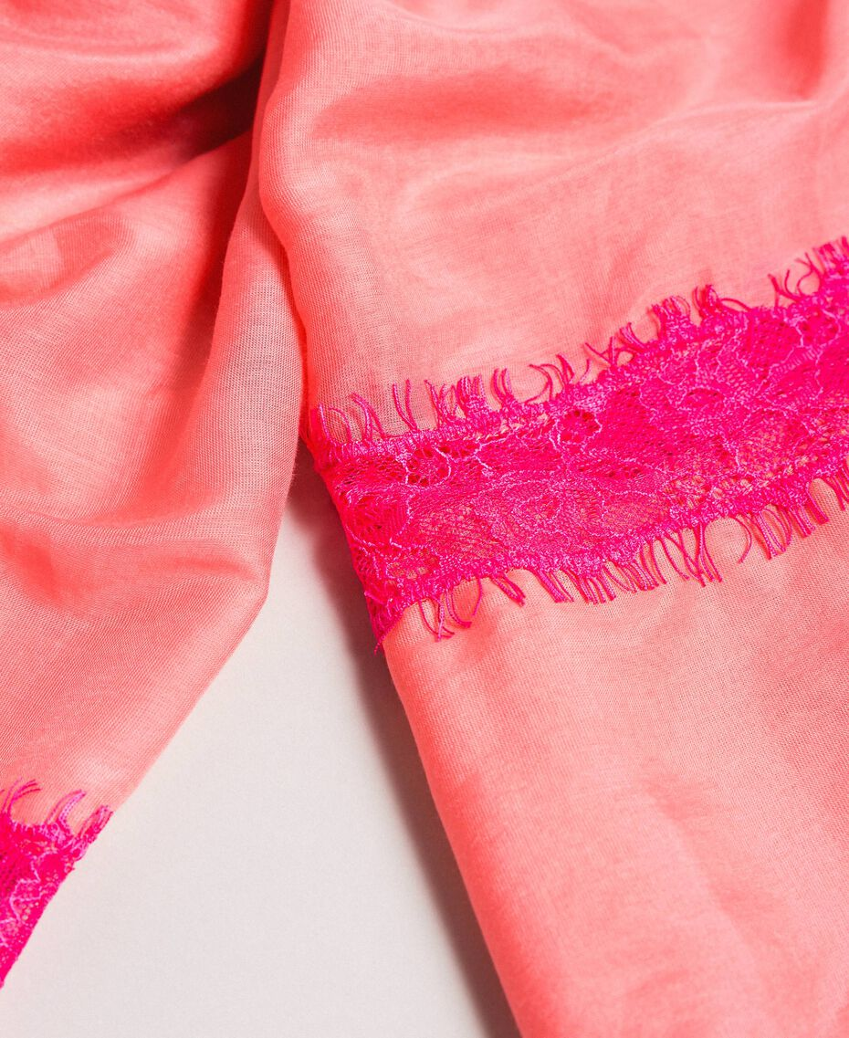 """Écharpe en coton ornée de dentelle Bicolore rose """"Églantine"""" / Rose Fluorescent Femme 191TA4364-02"""