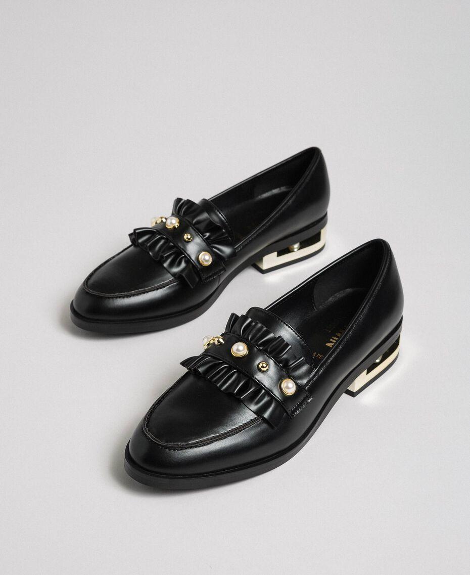 Mocassins avec perles et talon décoratif Noir Femme 192MCP020-02