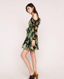 Robe imprimée avec découpe aux épaules Imprimé Summer Fruits Noir Femme 201TT2462-0T