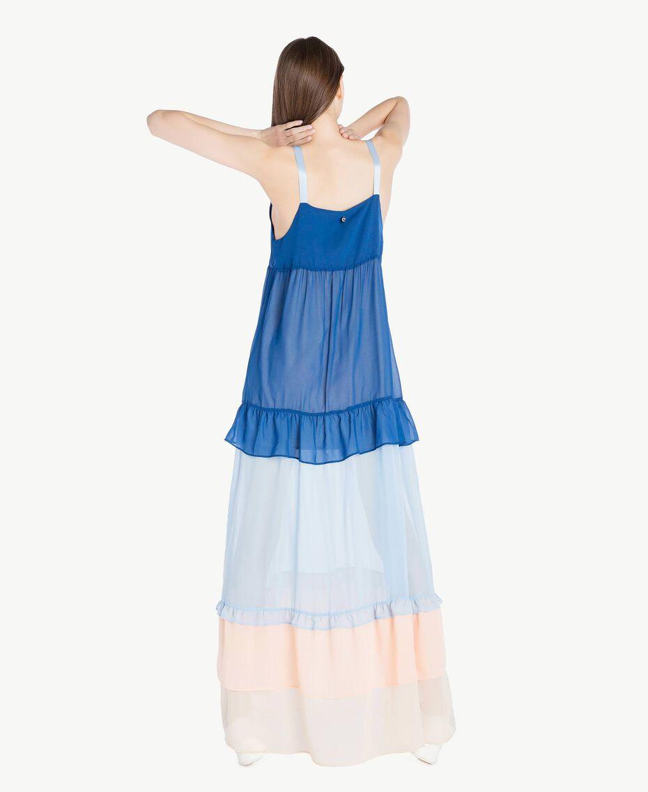 "Langes Kleid mit Volants Multicolor ""Navy Peony"" Frau SS82DD-03"