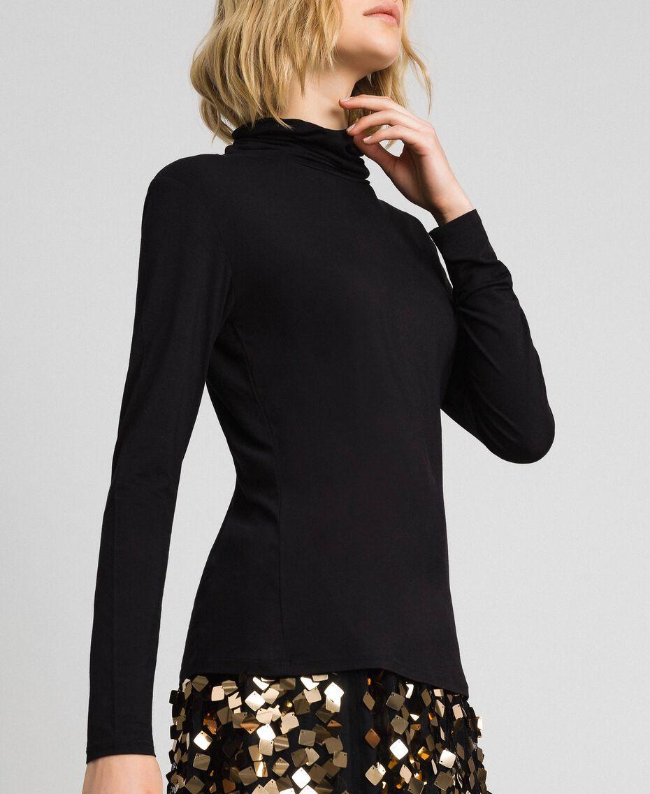 Pull col roulé en jersey Noir Femme 192LI2CDD-02