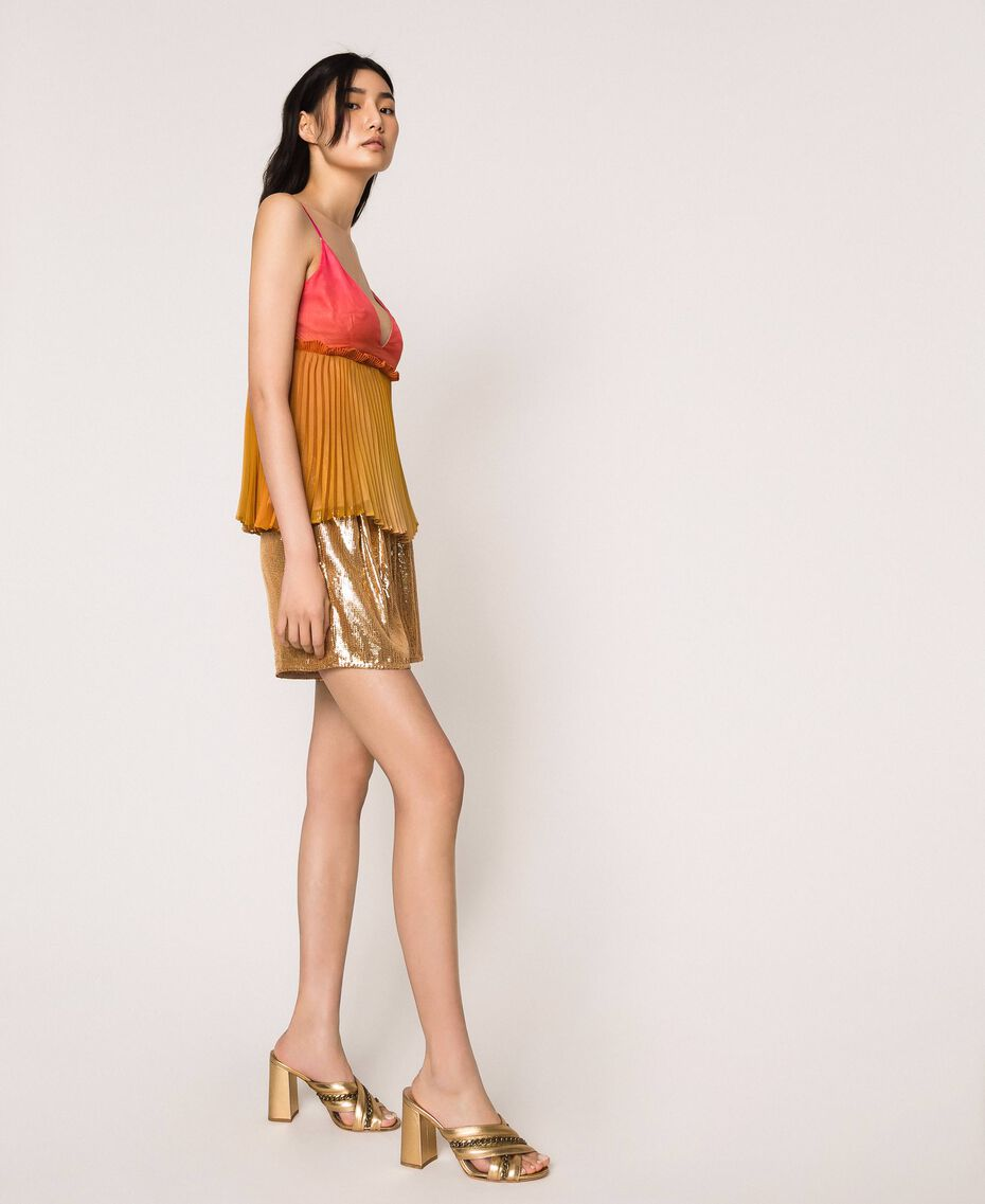 "Pleated chiffon top ""Sugar Coral"" Red / Golden Yellow Fadeout Print Woman 201TT2523-02"