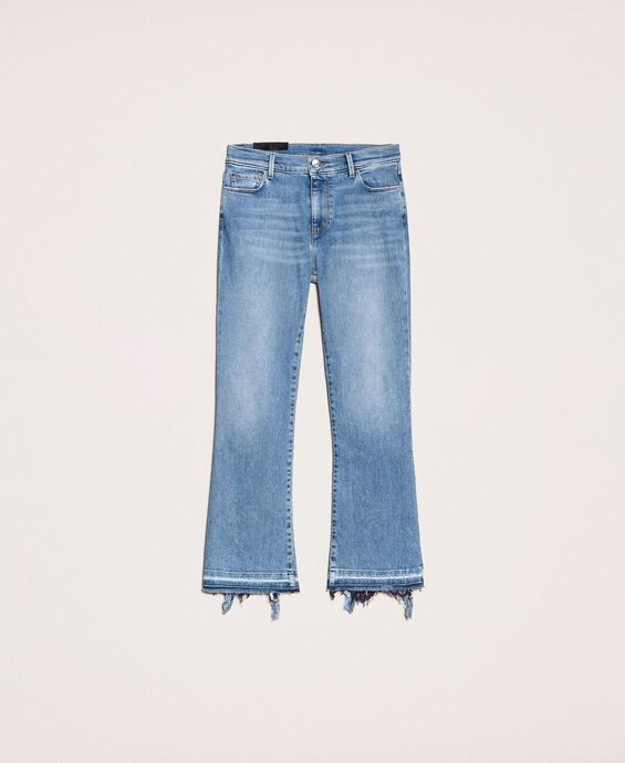 Flared cropped jeans with lace