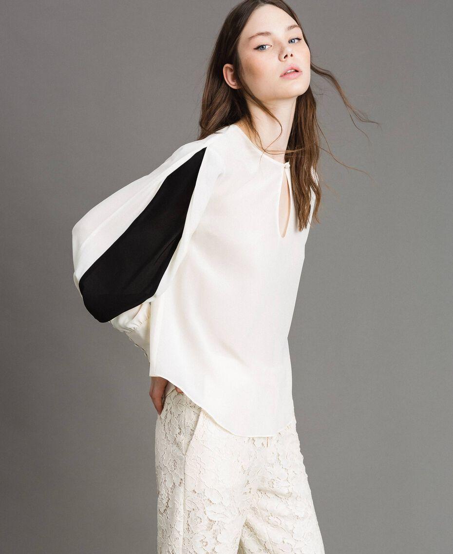 Blouse en soie mélangée Blanc Neige Femme 191TP2141-01