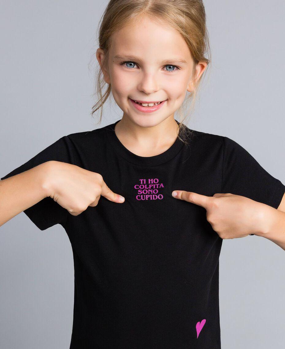 T-shirt unisexe junior en coton avec imprimé Noir Enfant QA8TMP-02