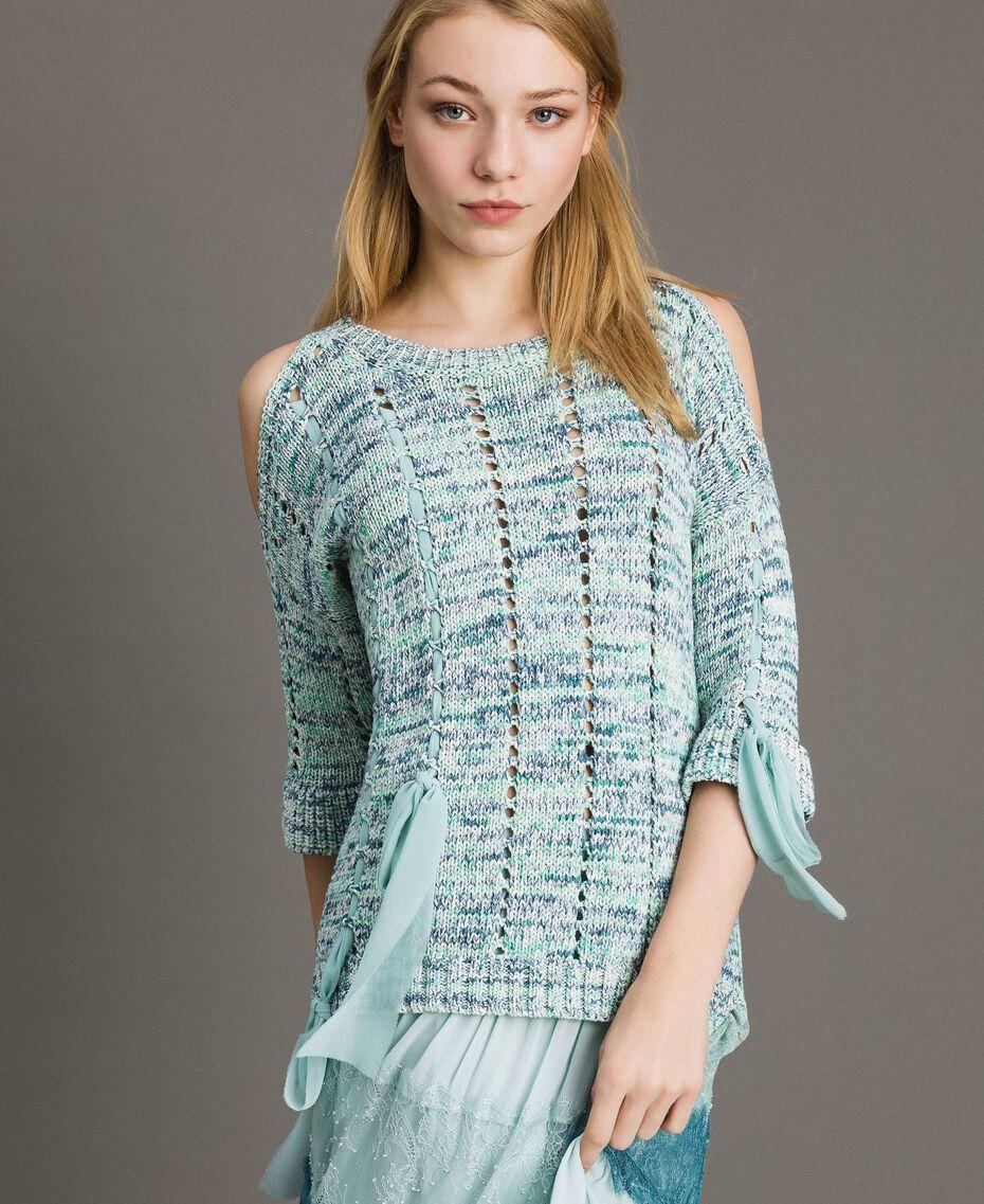 """Pull ajouré avec rubans Multicolore Fantaisie Bleu """"Mikonos"""" Femme 191TP3281-02"""