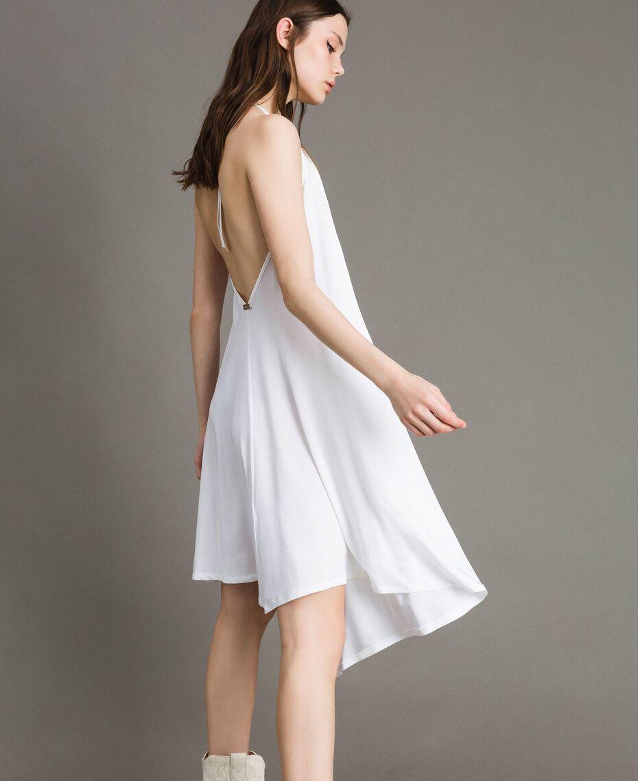 Robe asymétrique en jersey crêpé Blanc Femme 191LB22QQ-02