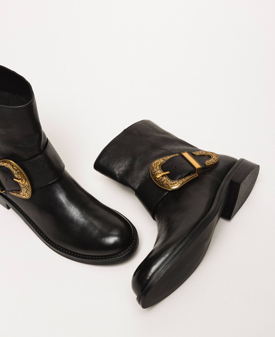 Leather biker boots with maxi buckle Black Woman 201TCP058-02
