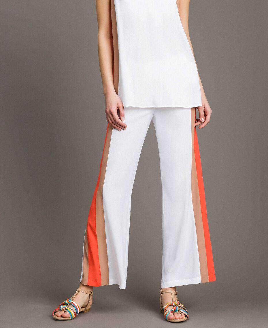 "Pantalon palazzo avec découpes multicolores Multocolore ""Jus d'Orange"" / Beige ""Voie Lactée"" / Marron ""Grès de Pétra"" Femme 191LM2HNN-02"