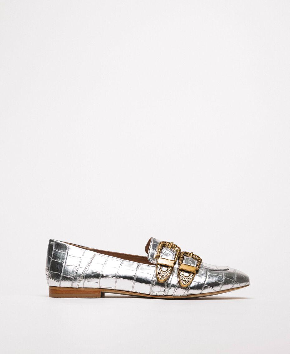 "Leather moccasins with crocodile print ""Titanium"" Grey Croc Print Woman 201TCP050-02"
