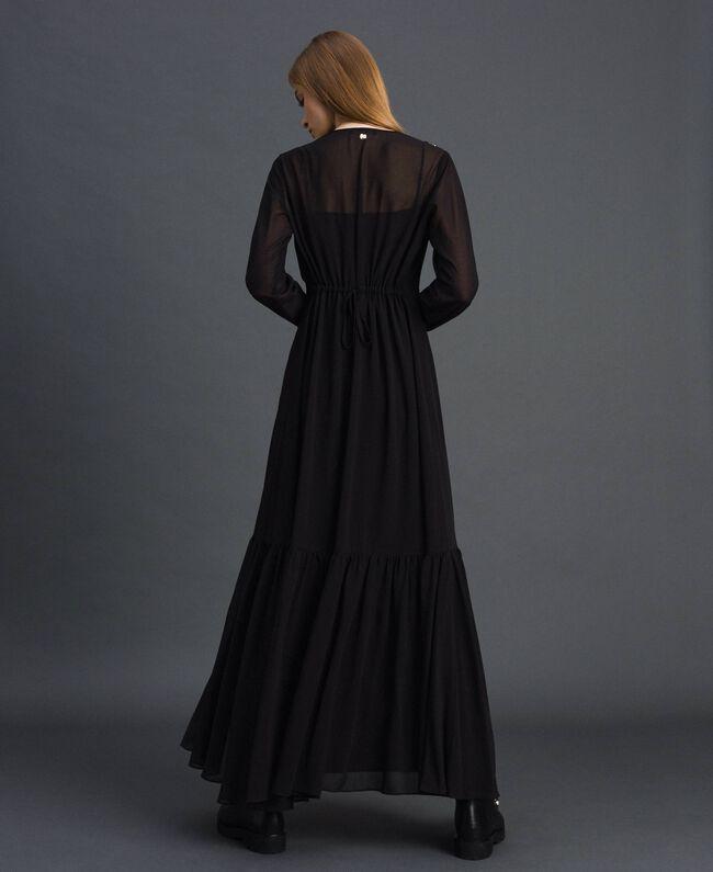Robe longue en crêpe georgette avec perles et clous Noir Femme 192MP2481-03
