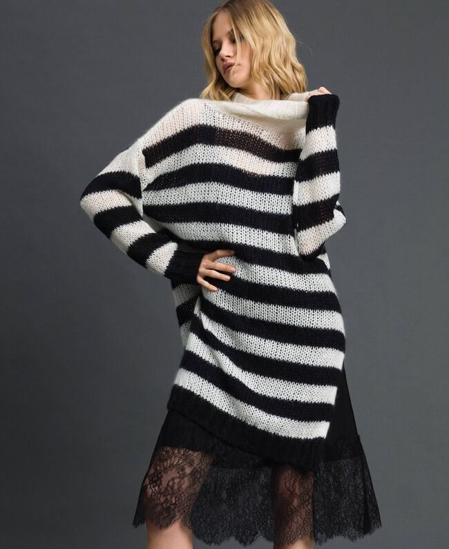"Striped mohair dress with slip Black / ""Papyrus"" White Stripe Woman 192TP3270-01"