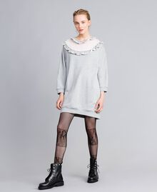 Maxi cotton sweatshirt with tulle inserts Melange Grey Woman PA82CC-01