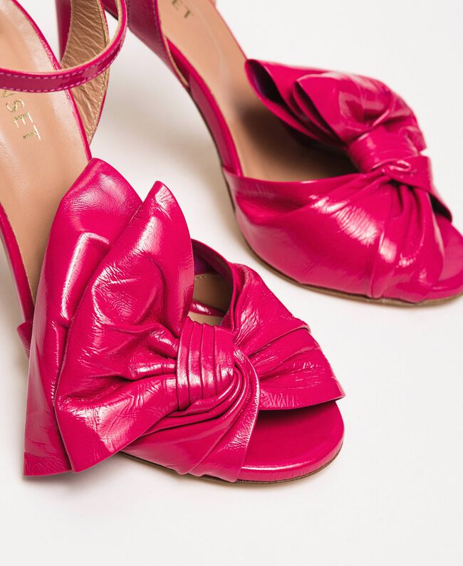 Patent leather sandals with maxi bow Black Cherry Woman 201TCP114-04