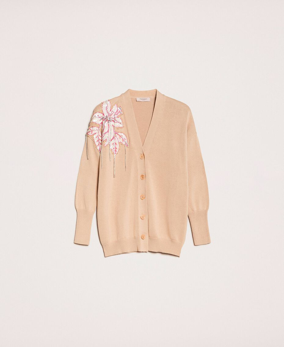 """Cardigan with floral patches and embroideries Dark """"Cremino"""" Beige Woman 201TP3171-0S"""
