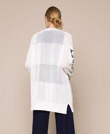 "Длинный ажурный кардиган с логотипом Белый ""Шелк"" женщина 201ST3141-03"