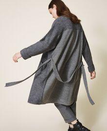 Manteau en maille avec boutonnière et ceinture Gris moyen chiné Femme 202ST3102-04