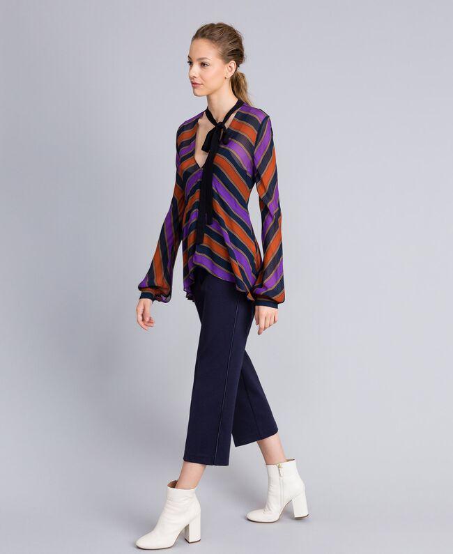 Bluse aus Georgette mit Streifen Streifenprint mehrfarbig Frau TA8292-03