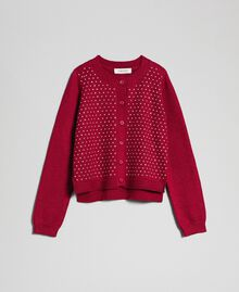 Cardigan with all over studs Ruby Wine Red Child 192GJ3093-0S
