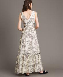 Robe longue en soie mélangée avec imprimé floral Imprimé Toile De Jouy Noir Femme 191TT2402-04