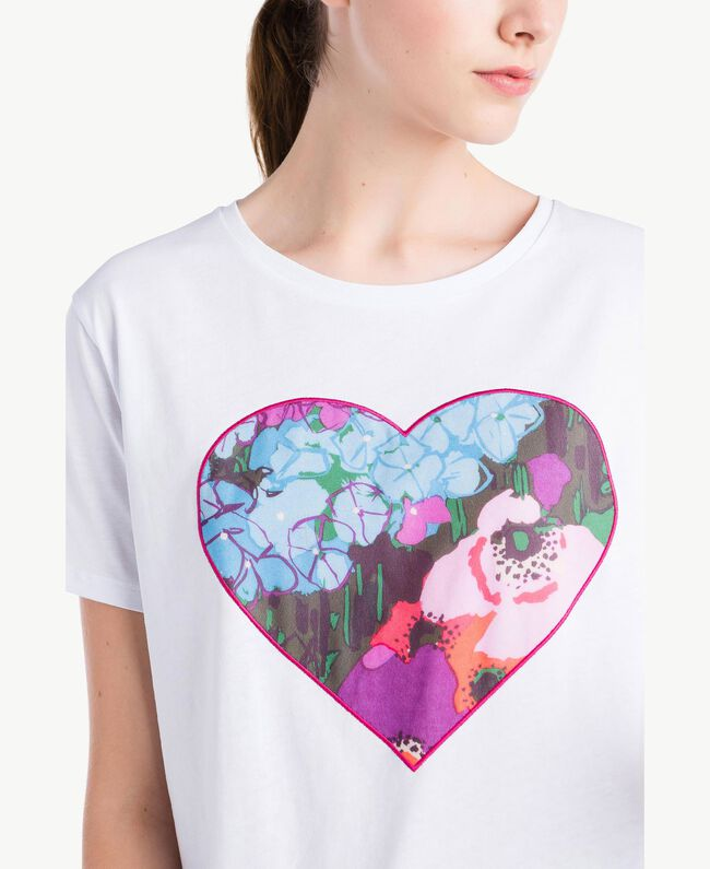 Heart print T-shirt White Woman NS82AP-04