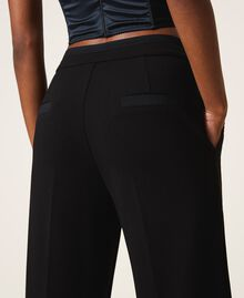 Trousers with crêpe de Chine finishes Black Woman 202MP2292-04
