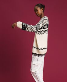"Maxi jacquard jumper with logo and pearls Dark ""Papyrus"" White / Black Jacquard Woman 192TP332E-05"