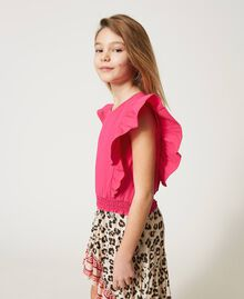 """Top with gathered sleeves """"Fuchsia Purple"""" Pink Child 211GJ2238-02"""
