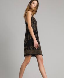 Leinen-Kleid mit Perlen und Pailletten Schwarz Frau 191TT2063-02