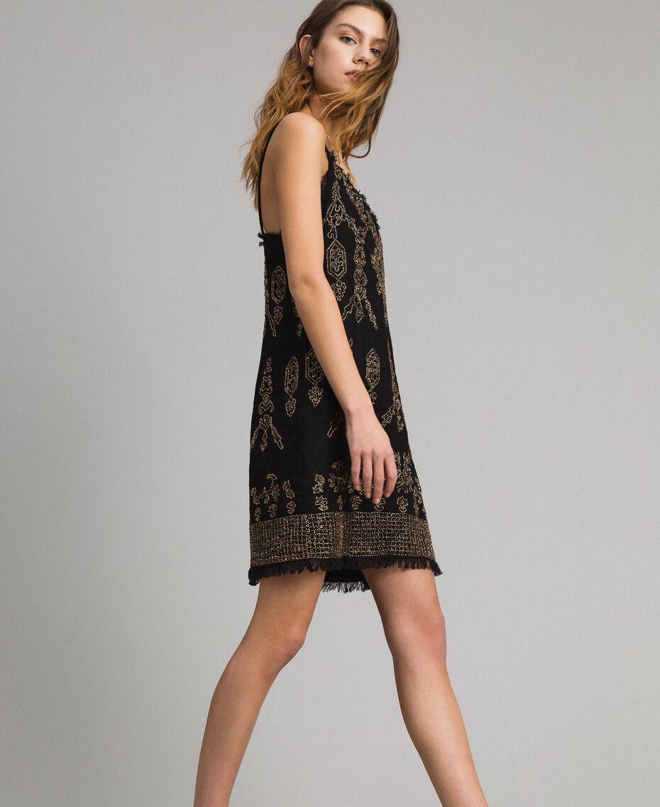 Robe en lin ornée de perles et de sequins Noir Femme 191TT2063-02
