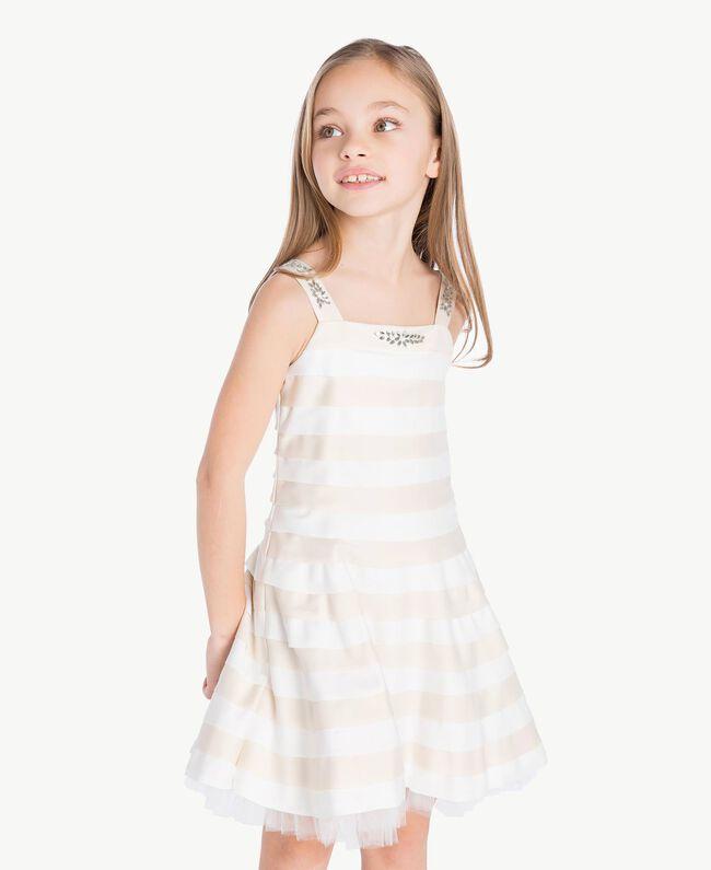 Kleid mit Strass Zweifarbig Chantilly / Papyrusweiß Kind GS8LBA-05