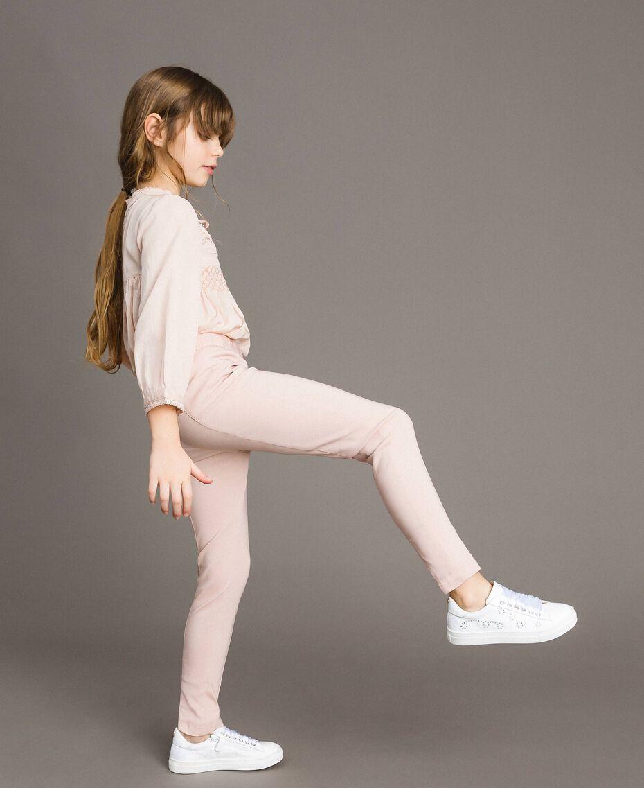 Pantalon skinny en coton Rose En fleur Enfant 191GJ2111-02