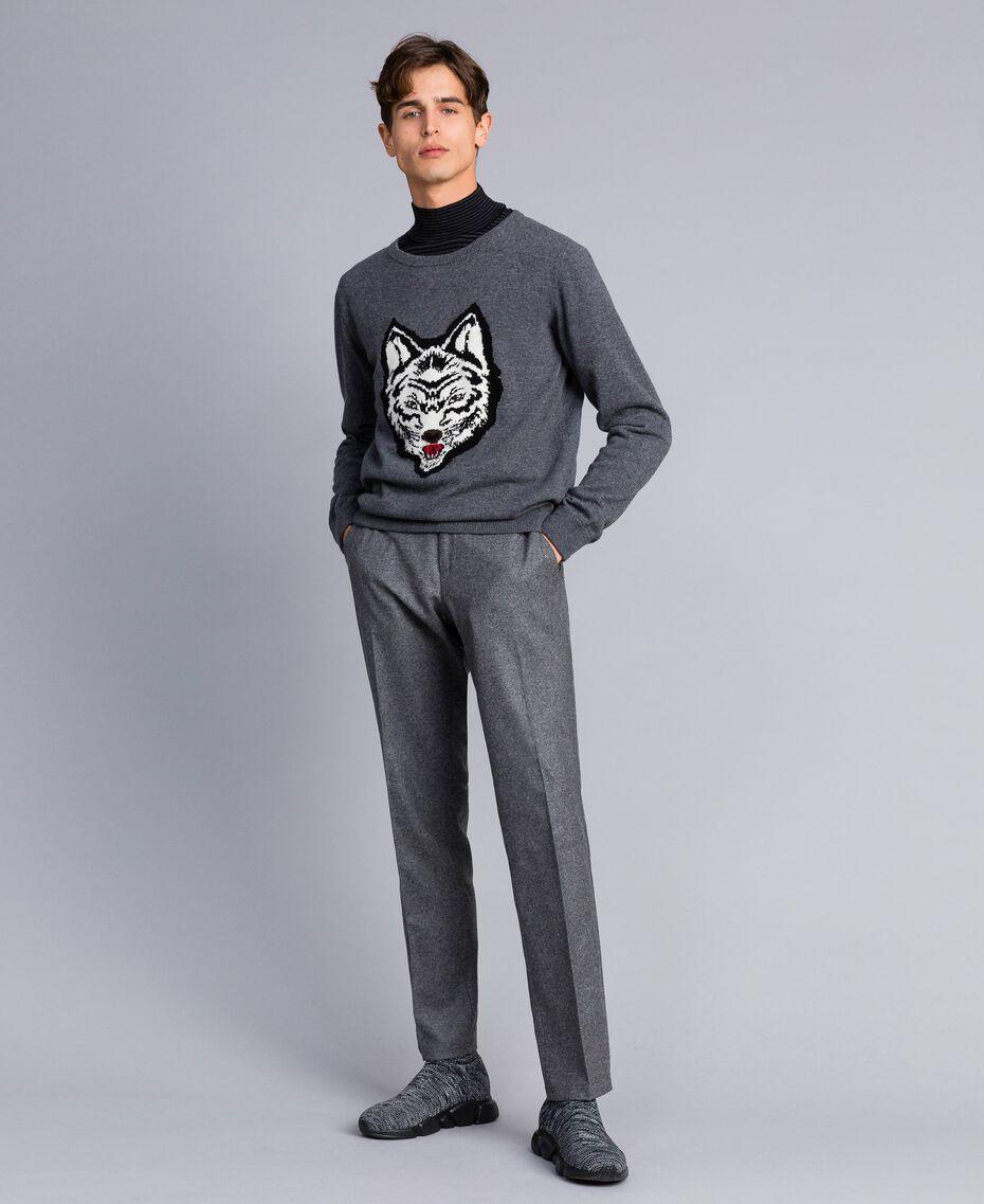 Pull en laine mélangée Gris moyen chiné Homme UA83H1-0T