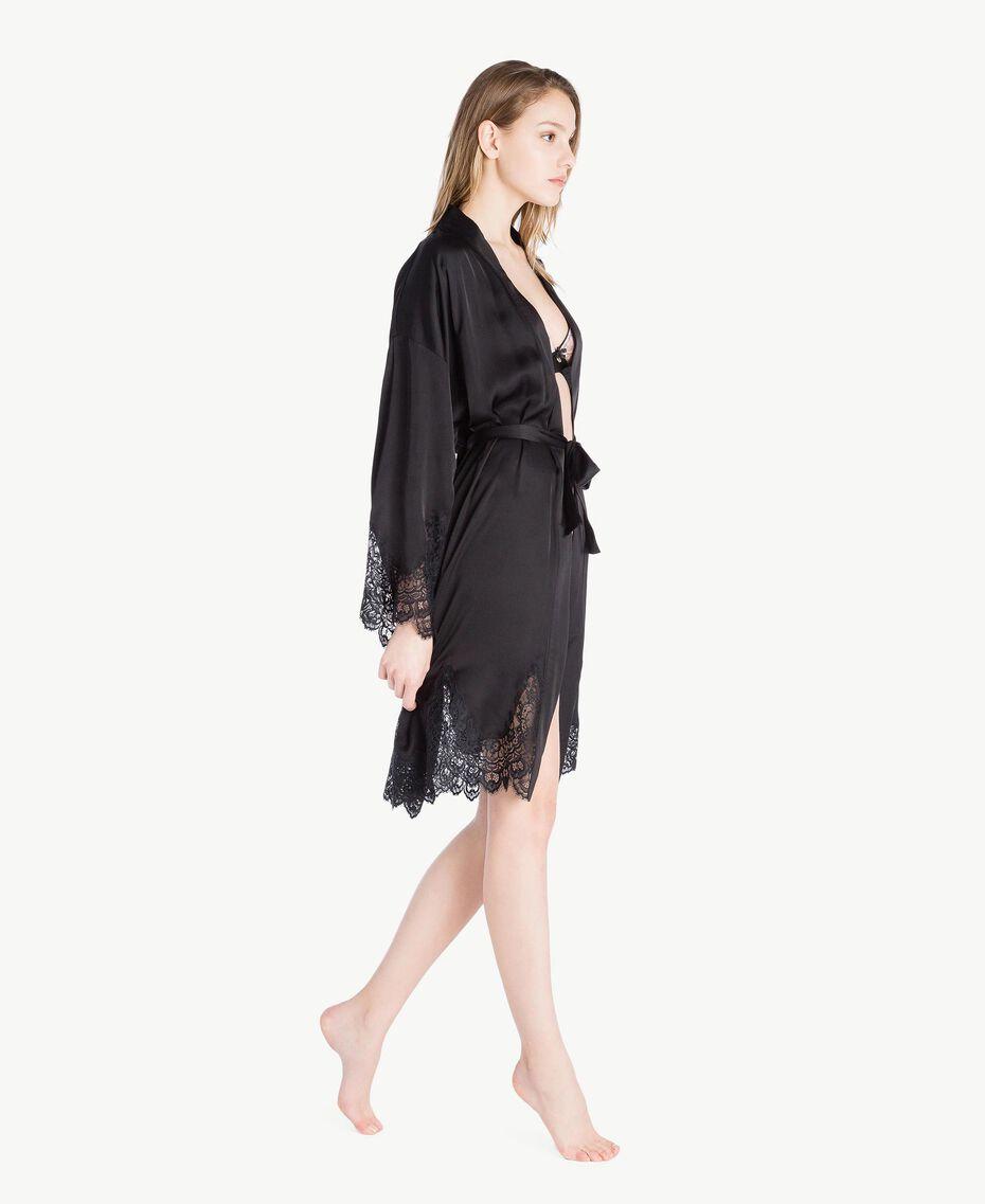 Unterkleid aus Satin Schwarz Frau LS8CKK-03