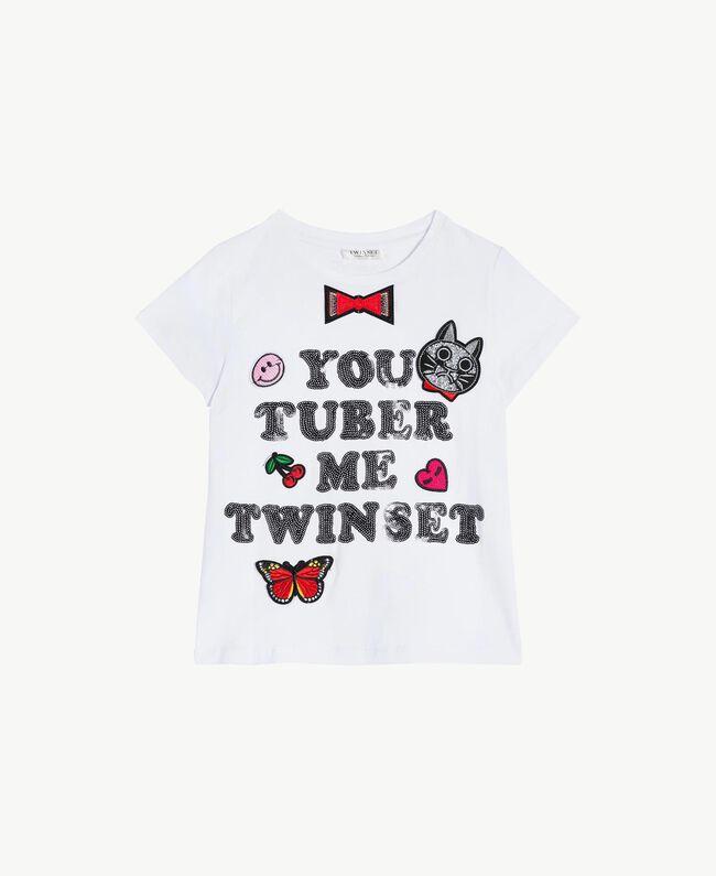 """T-shirt paillettes Blanc """"Papers"""" Enfant GS82RA-01"""