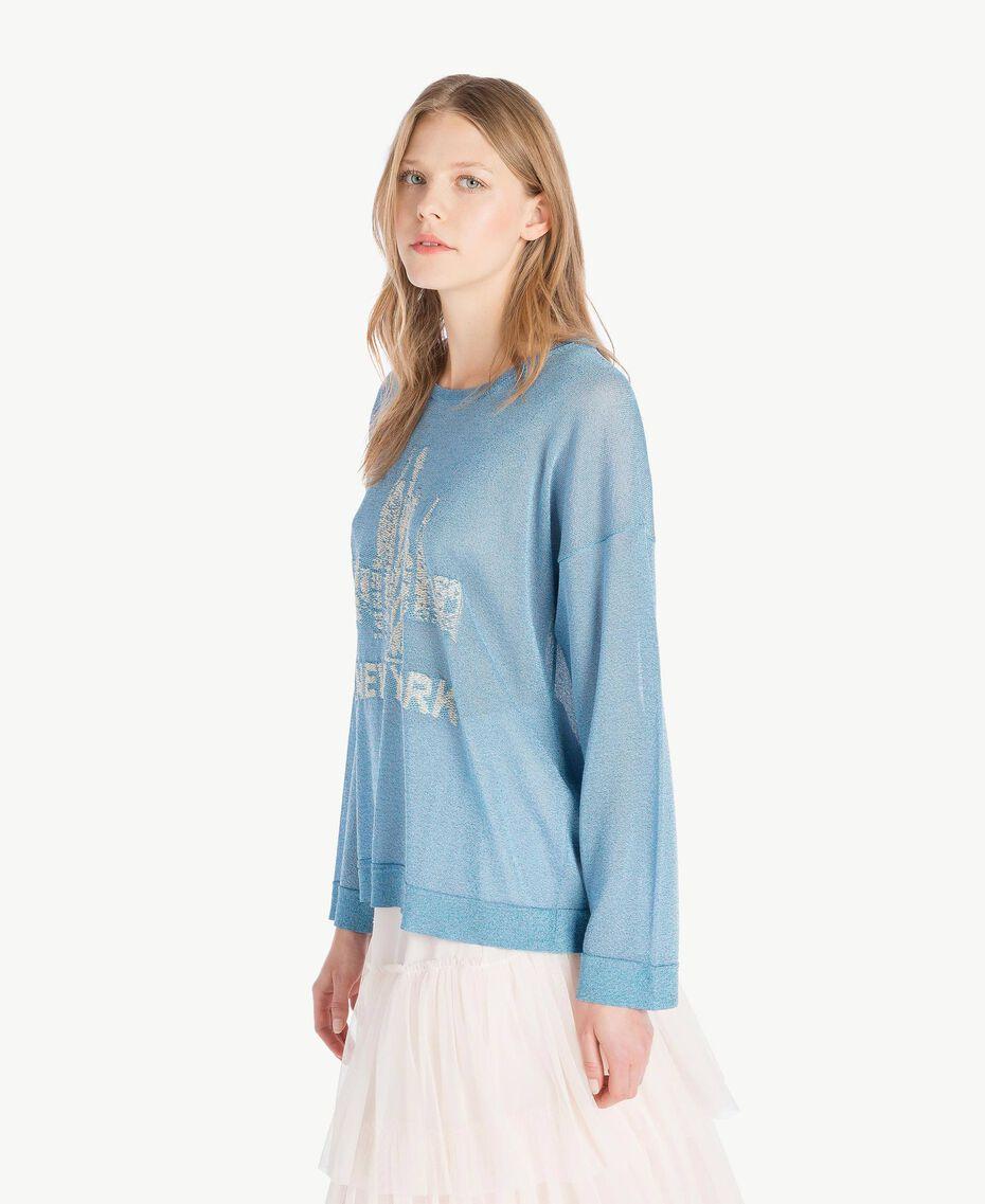 Lurex knit top Oriental Blue Lurex Woman PS83Y2-02