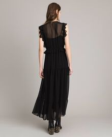 Long georgette dress with rings Black Woman 191MP2390-03