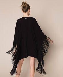 Kimono-style kaftan with fringes Black Woman 201LB2CLL-03