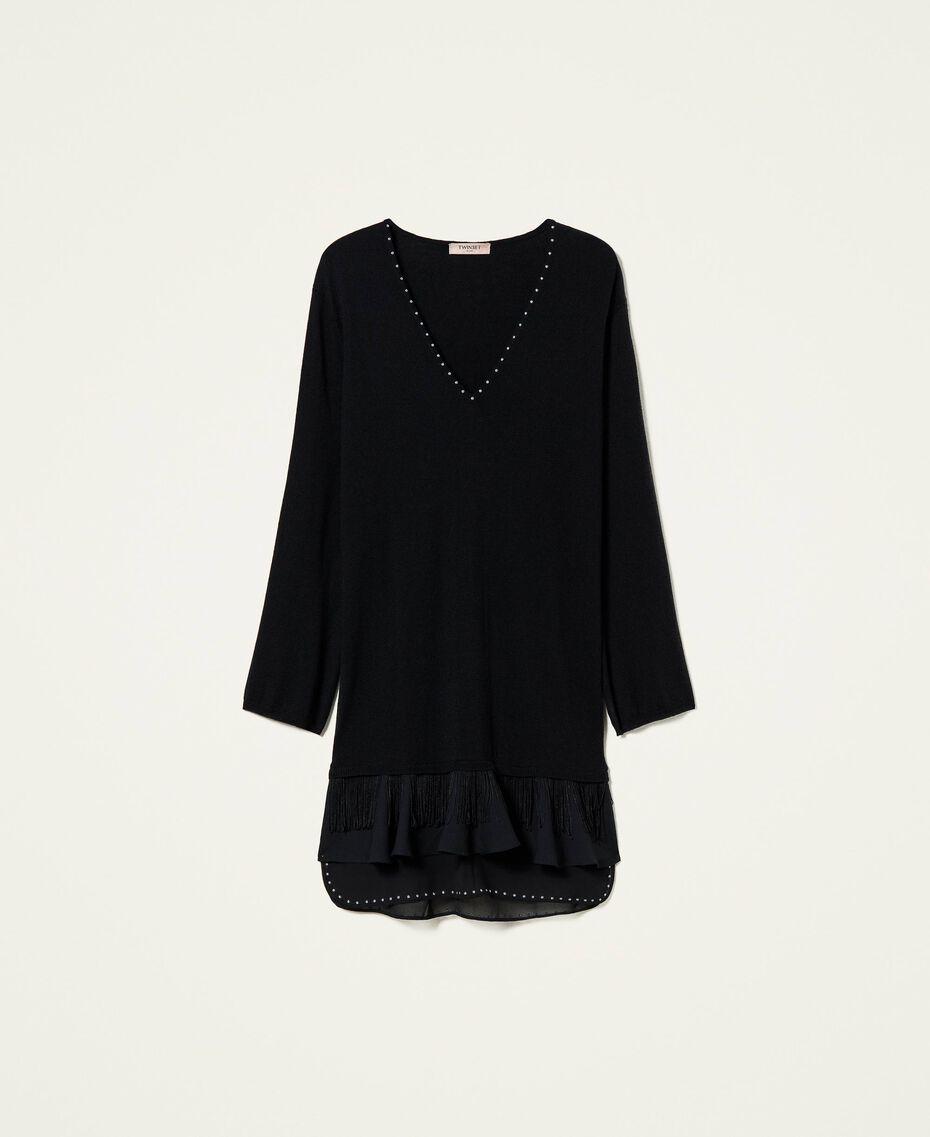 Robe en laine mélangée avec clous et franges Noir Femme 212TP3191-0S