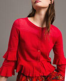 "Crêpe yarn flounced cardigan ""Lipstick Red"" Woman 191TT3020-01"