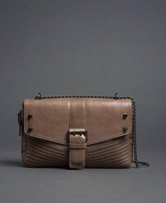 Grand sac à bandoulière Rebel en cuir Tourterelle Femme 192TA7233-04
