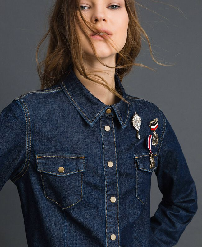 Denim shirt with army style brooches Denim Blue Woman 192MP2342-01
