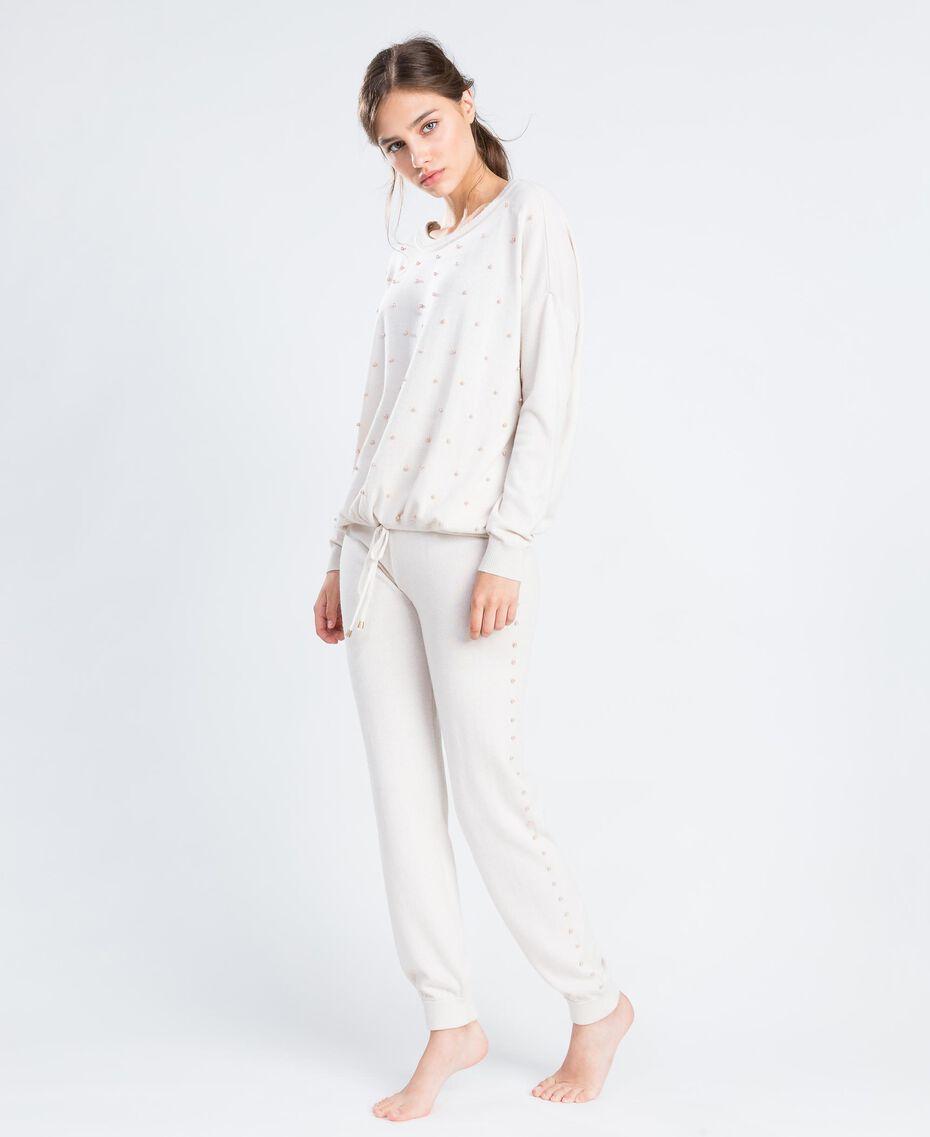Pantalon de jogging en laine mélangée Blanc Femme IA8ALL-02
