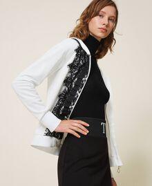 Scalloped lace sweatshirt White Woman 202LI2NHH-03